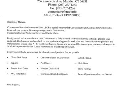 Cornerstone Fence was Awarded Connecticut State Contract once again!